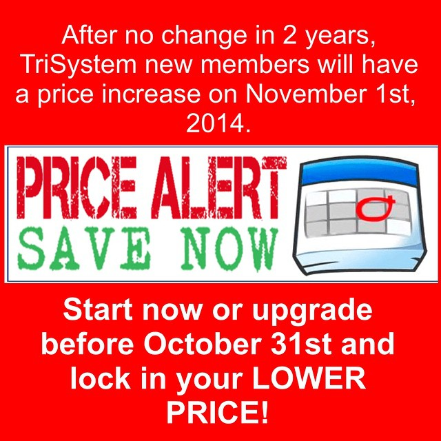 Current TriSystem members will have no change.  People just starting up or adding sessions will have new prices as of November 1st. 2014.  Start before the price change and save.  WE DO GIFT CERTIFICATES!