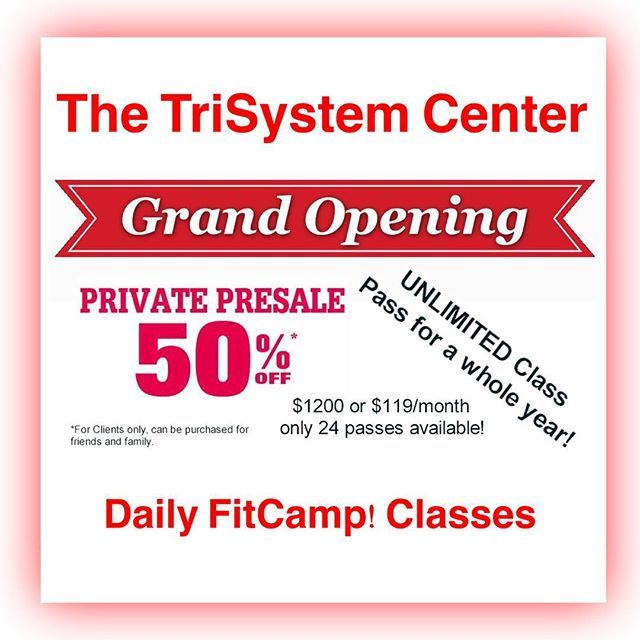 Only 24 TriSystem unlimited Class Passes sold.  When they're gone,  they're gone.  Your On-Switch to Summer! #trisystemnutrition #fitness #fightforfit #jointhefamily #motivation #dailyfitcamp #grandopening #sandiego #westcoast #makeitcount #goodvibes #workwiththepros